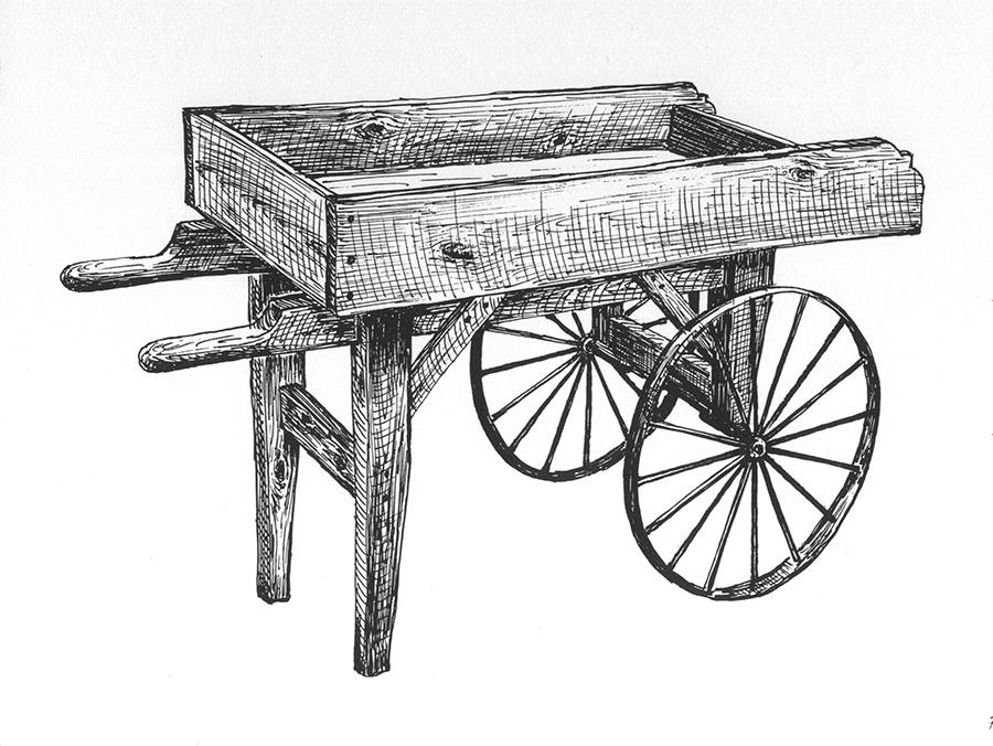 vendor cart 16 spoke wheel byegone workshop