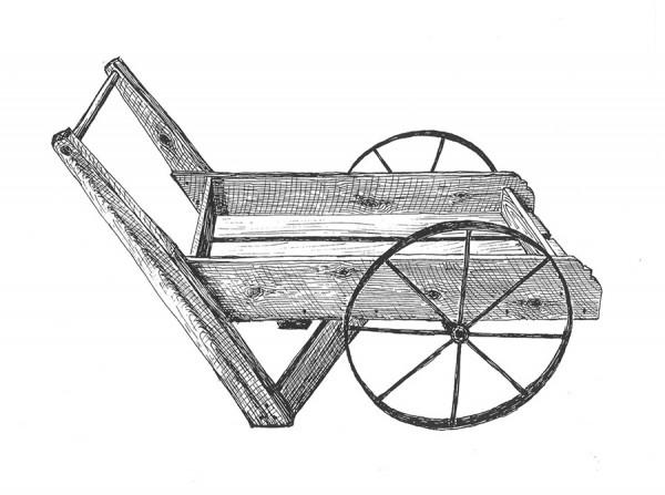 Peddler Cart with 8-Spoke Wheel by ByeGone Workshop